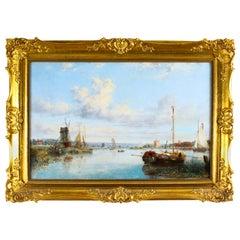 Antique Dutch Waterscape Oil Painting Circle of Pieter Cornelis Dommersen, 19thC