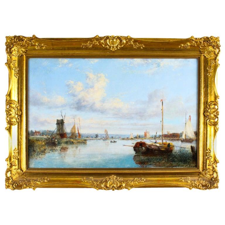 Antique Dutch Waterscape Oil Painting Circle of Pieter Cornelis Dommersen, 19thC For Sale