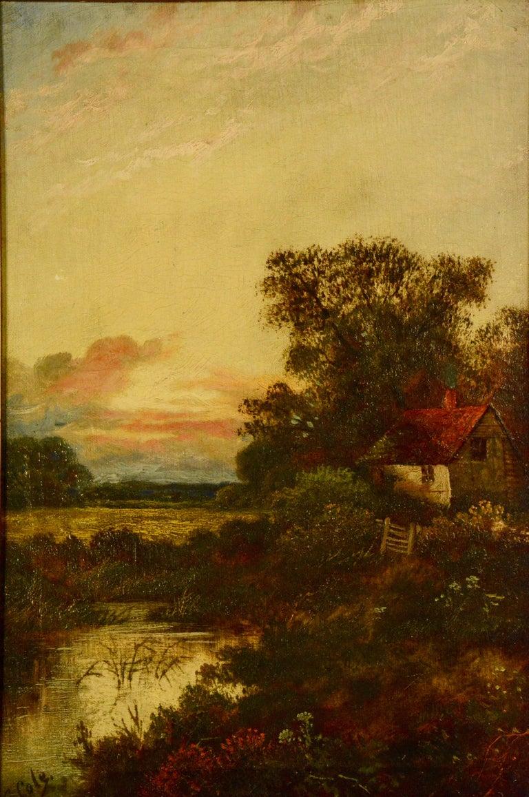 Hand-Painted Antique E. Cole Oil on Canvas Sunset Cottage Landscape For Sale