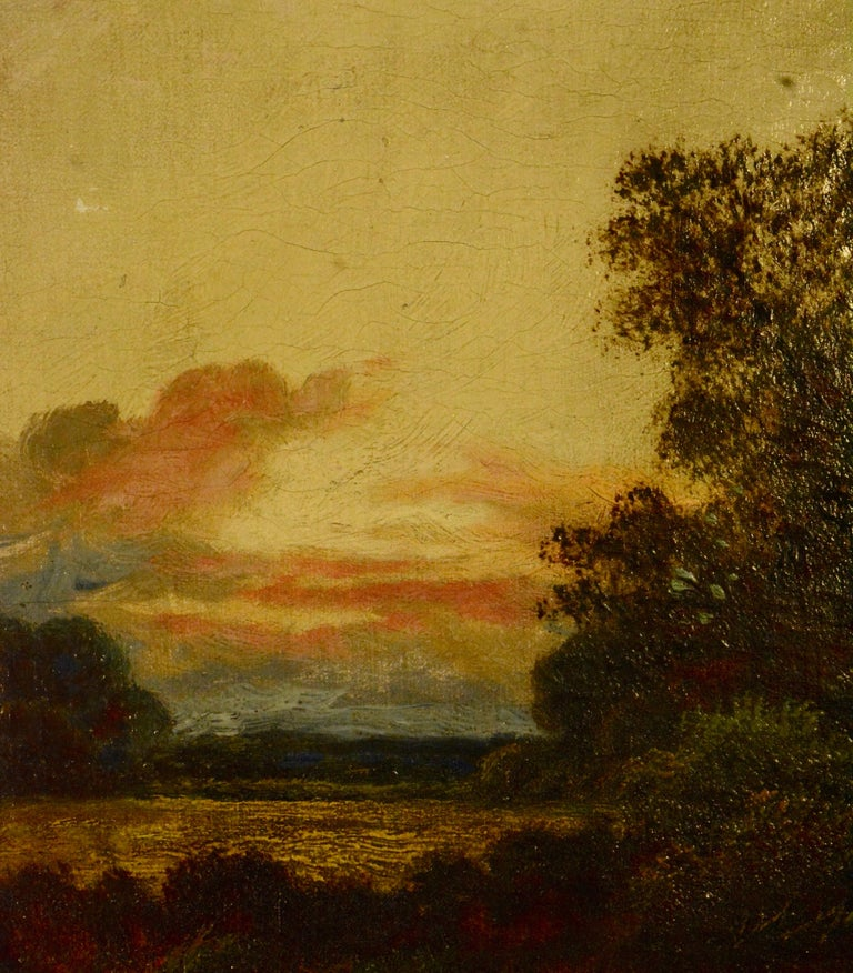 Antique E. Cole Oil on Canvas Sunset Cottage Landscape In Fair Condition For Sale In Cookeville, TN