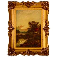Antique E. Cole Oil on Canvas Sunset Cottage Landscape