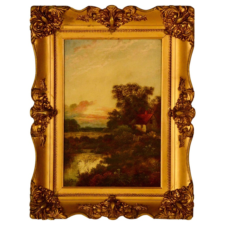 Antique E. Cole Oil on Canvas Sunset Cottage Landscape For Sale