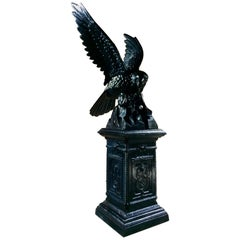 Antique Eagle Cast Iron Garden Pedestal Garden Sculpture Very Large