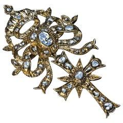 Antique Early 1700s Baroque Diamond Gold Cross Pendant