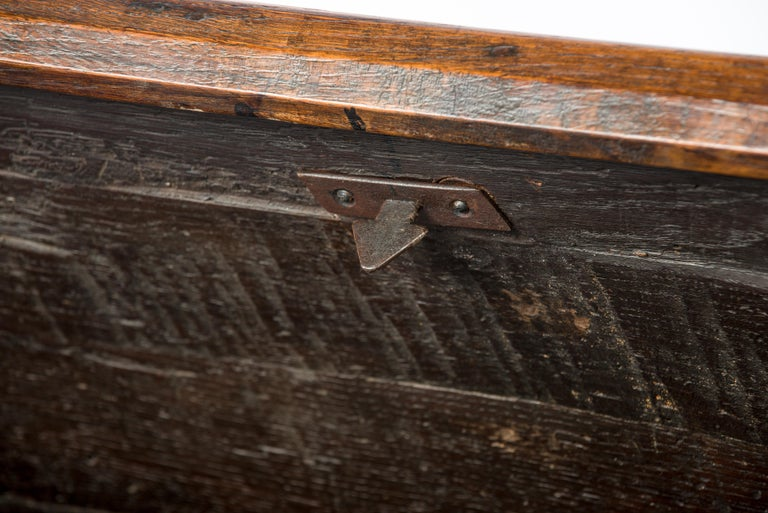 Antique Early 18th Century Warm Brown Paneled and Carved Oak Chest or Coffer For Sale 5