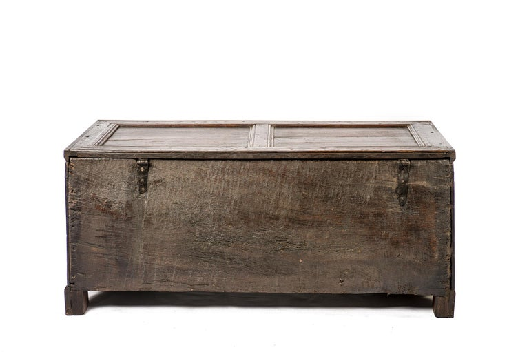 Antique Early 18th Century Warm Brown Paneled and Carved Oak Chest or Coffer For Sale 8