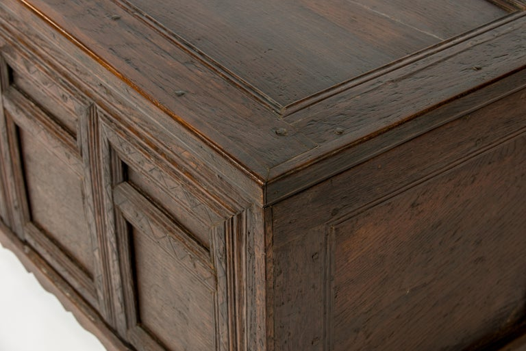 English Antique Early 18th Century Warm Brown Paneled and Carved Oak Chest or Coffer For Sale