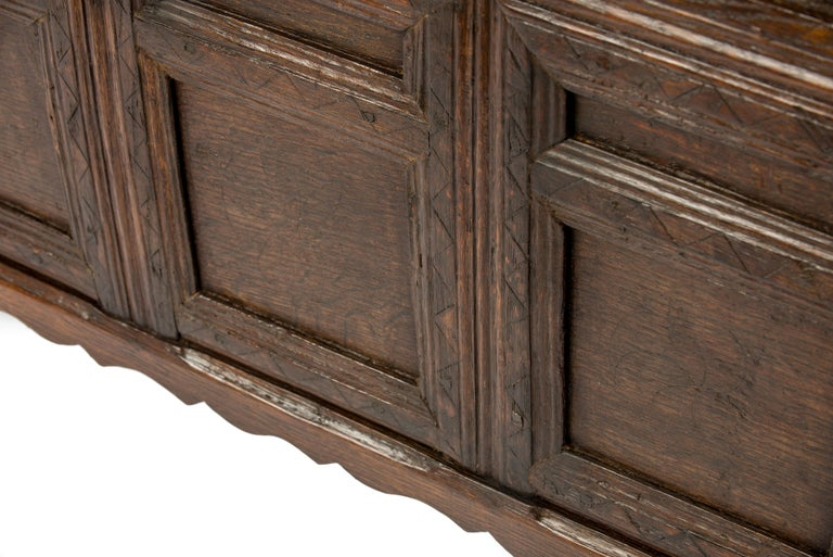 Antique Early 18th Century Warm Brown Paneled and Carved Oak Chest or Coffer In Good Condition For Sale In Casteren, NL