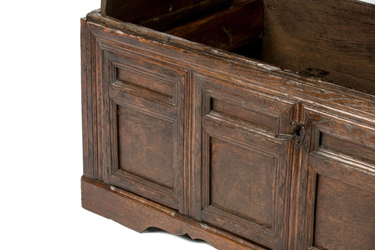 Iron Antique Early 18th Century Warm Brown Paneled and Carved Oak Chest or Coffer For Sale