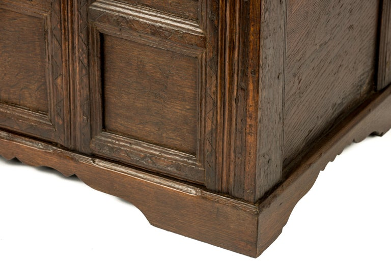 Antique Early 18th Century Warm Brown Paneled and Carved Oak Chest or Coffer For Sale 1