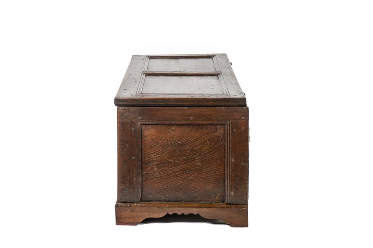 Antique Early 18th Century Warm Brown Paneled and Carved Oak Chest or Coffer For Sale 2