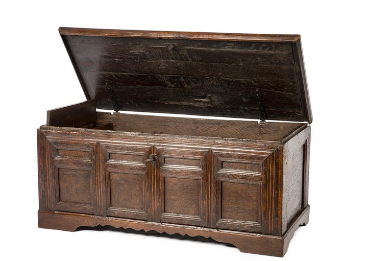 Antique Early 18th Century Warm Brown Paneled and Carved Oak Chest or Coffer For Sale 3