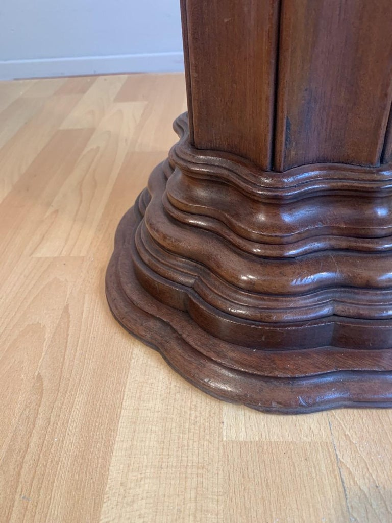Antique Early 1900s Hand Carved Mahogany Wooden Layered Pedestal Display Stand 5