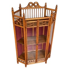 Antique Early 1900s, Handmade Arts & Crafts Oak and Glass Wall Display Cabinet