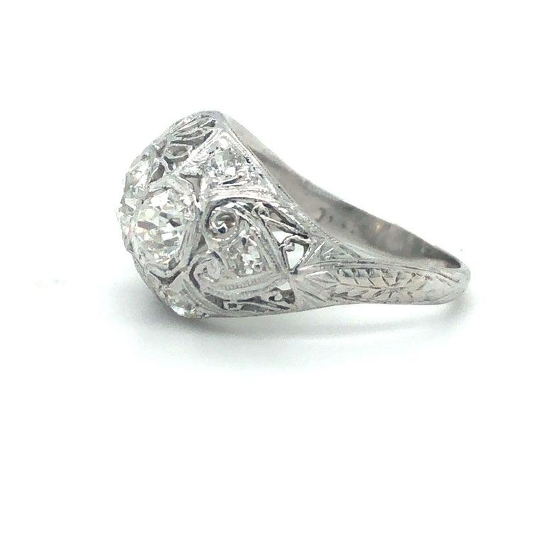 Old Mine Cut Antique Early 1900s Old Cut Diamond Three-Stone Filigree Ring Platinum