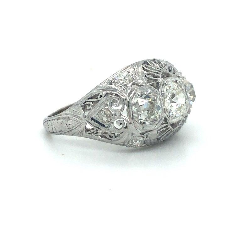 Antique Early 1900s Old Cut Diamond Three-Stone Filigree Ring Platinum 1