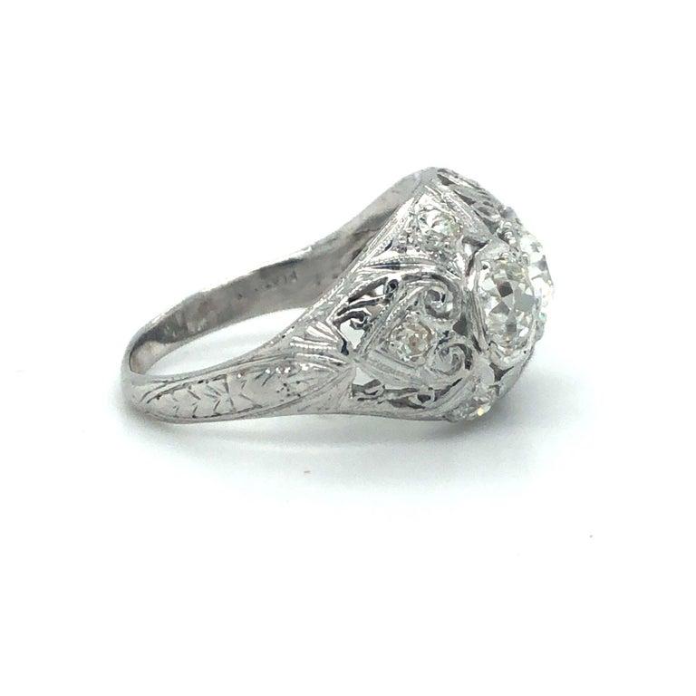 Antique Early 1900s Old Cut Diamond Three-Stone Filigree Ring Platinum 2