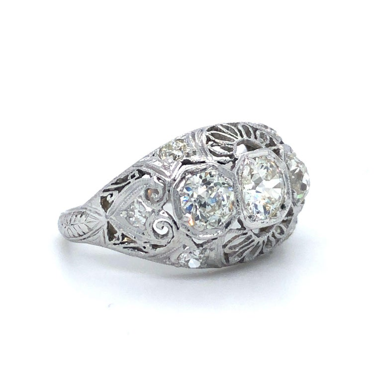 Antique Early 1900s Old Cut Diamond Three-Stone Filigree Ring Platinum 3