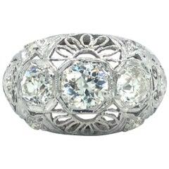 Antique Early 1900s Old Cut Diamond Three-Stone Filigree Ring Platinum