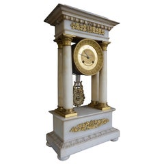 Antique Early 19th Century Empire Style Alabaster and Gilt Bronze Mantel Clock