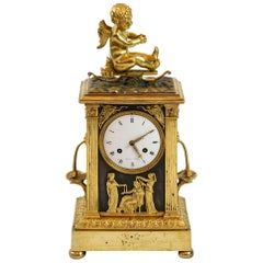 Antique Early 19th Century French Empire Gilded Bronze Mantel Clock