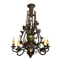 Antique Early 19th Century French Iron and Tole Chandelier