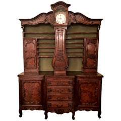 """Antique Early 19th Century French """"Vessalier,"""" Clock Cabinet from Bresse"""