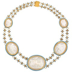 Antique Early 19th Century Neoclassical Shell Cameo, Gold, and Enamel Necklace