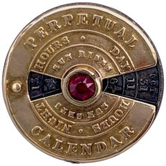 Antique Early 19th Century Perpetual Calendar Sunrise Sunset Gold Silver Glass