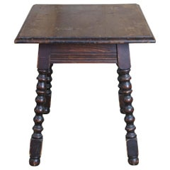 Antique Early 20th C. English Jacobean Style Oak Side Table Spool Turned Legs