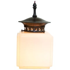 Antique Early 20th Century Art Deco Stepped Cube Opaline Pendant Light