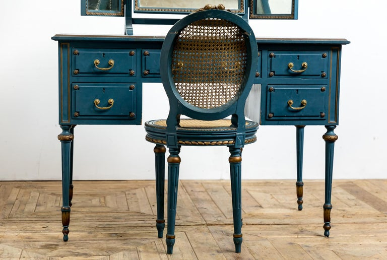 British Antique Early 20th Century Blue Painted Dressing Table with Mirror and Chair For Sale