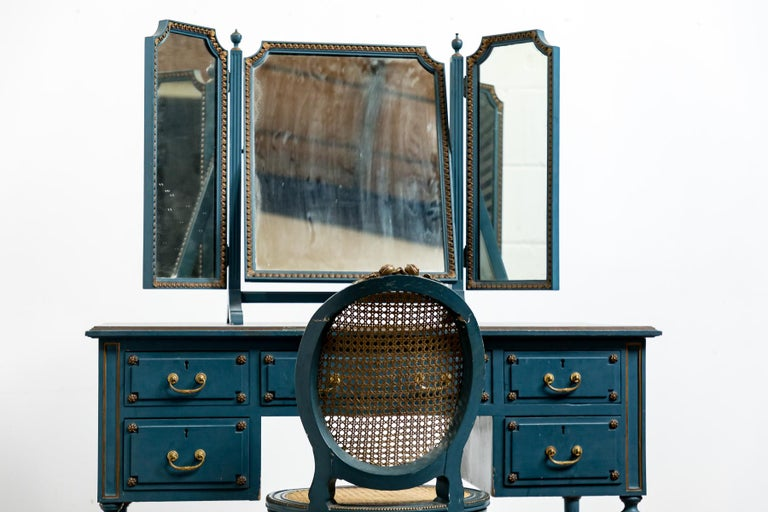 Hand-Painted Antique Early 20th Century Blue Painted Dressing Table with Mirror and Chair For Sale