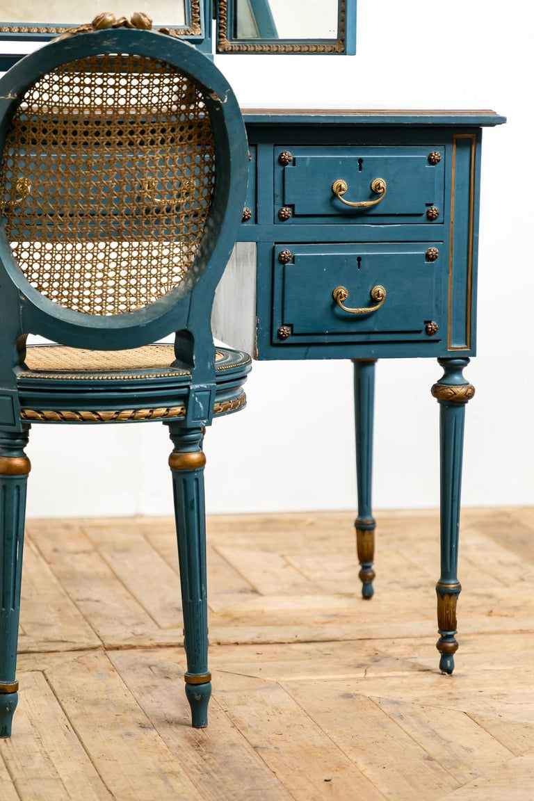 Wood Antique Early 20th Century Blue Painted Dressing Table with Mirror and Chair For Sale