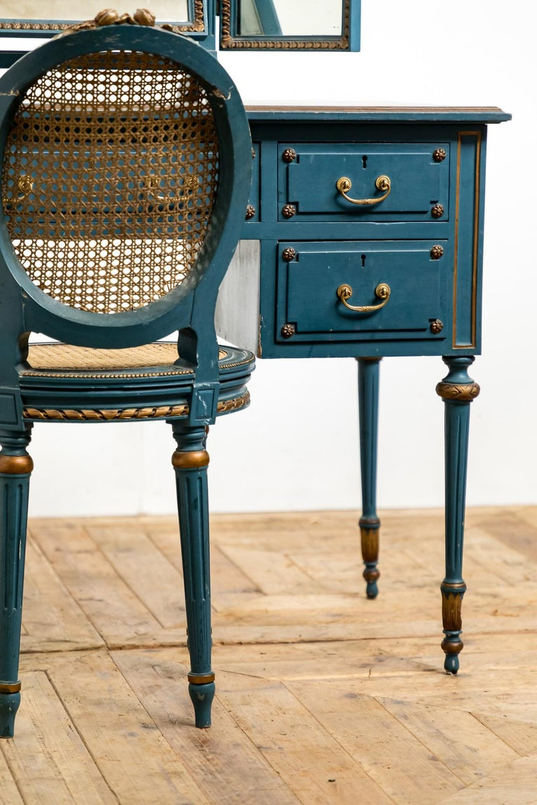 Antique Early 20th Century Blue Painted Dressing Table with Mirror and Chair For Sale 1