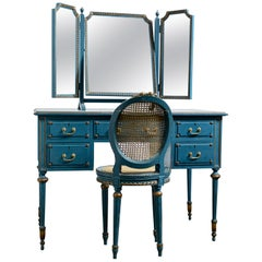 Antique Early 20th Century Blue Painted Dressing Table with Mirror and Chair