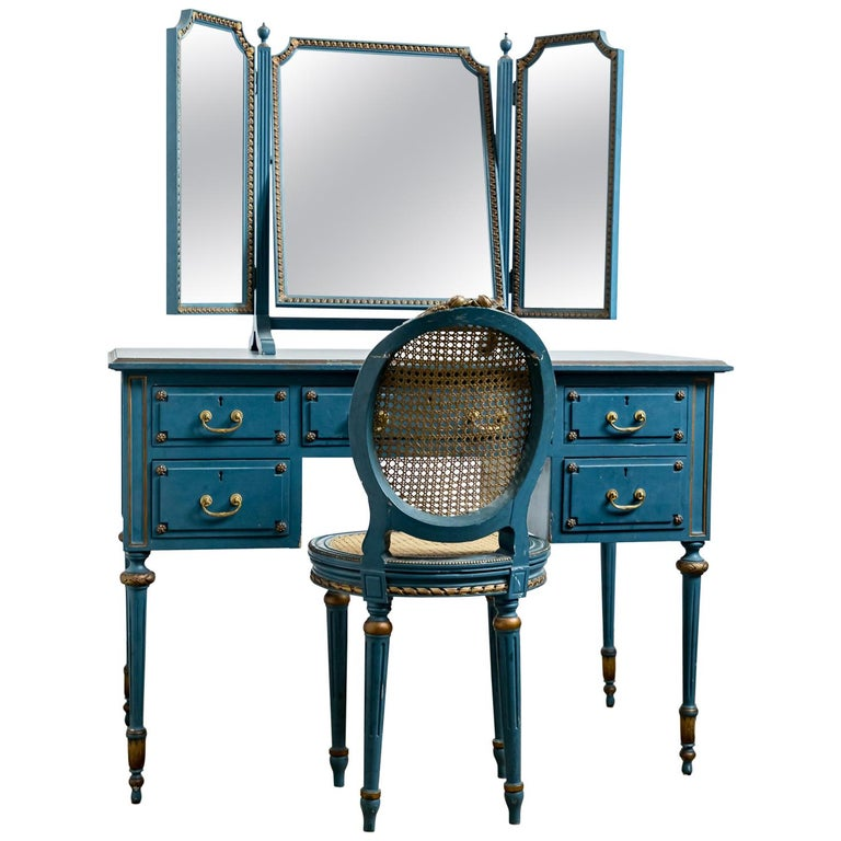 Antique Early 20th Century Blue Painted Dressing Table with Mirror and Chair For Sale