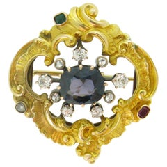 Antique Early 20th Century Blue Spinel Diamonds Emerald Ruby Yellow Gold Brooch