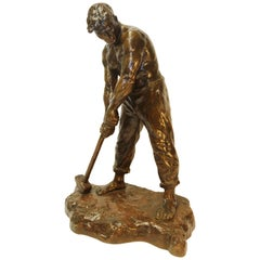 Early 20th Century Bronze Study of a young male Signed V Demanet circa 1920-1930