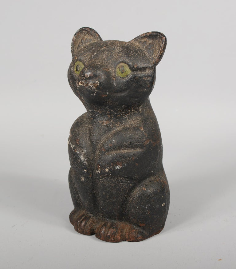 Antique Early 20th Century Cast Iron Cat Door Stop In Good Condition For Sale In San Mateo, CA