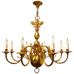 Antique Early 20th Century Dutch Brass Chandelier with Eight Arms