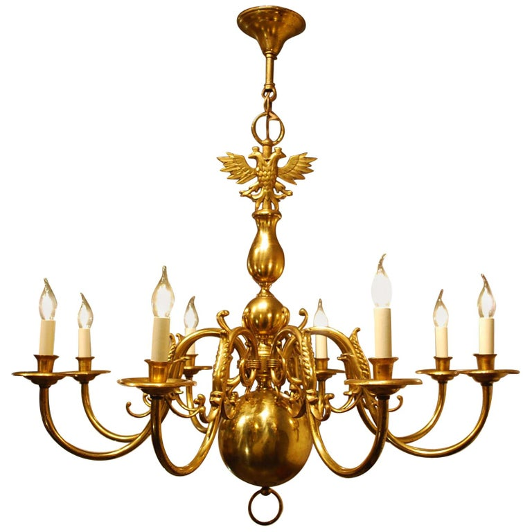 Antique Early 20th Century Dutch Brass Chandelier with Eight Arms For Sale
