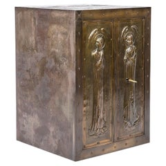 Antique Early 20th-Century Fireproof  Religious Safe with Art Nouveau Front