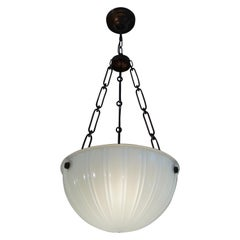 Antique American Opaline Glass Pendant Chandelier By Jefferson with Brass Chain