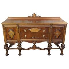 Antique Early 20th Century Jacobean Elizabethan Walnut Buffet Burled Sideboard