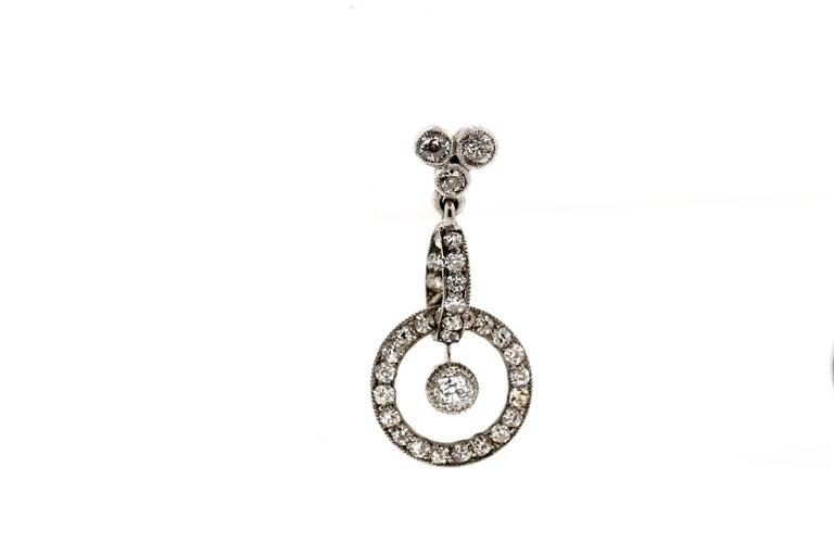 Edwardian Antique Early 20th Century Platinum Diamond Pendant Earrings For Sale