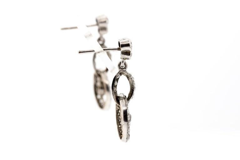 Old European Cut Antique Early 20th Century Platinum Diamond Pendant Earrings For Sale