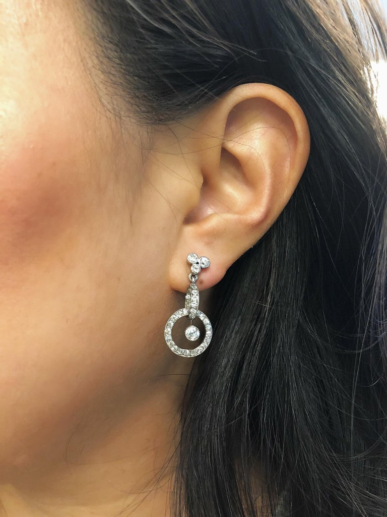 Women's or Men's Antique Early 20th Century Platinum Diamond Pendant Earrings For Sale
