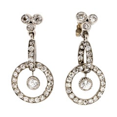 Antique Early 20th Century Platinum Diamond Pendant Earrings