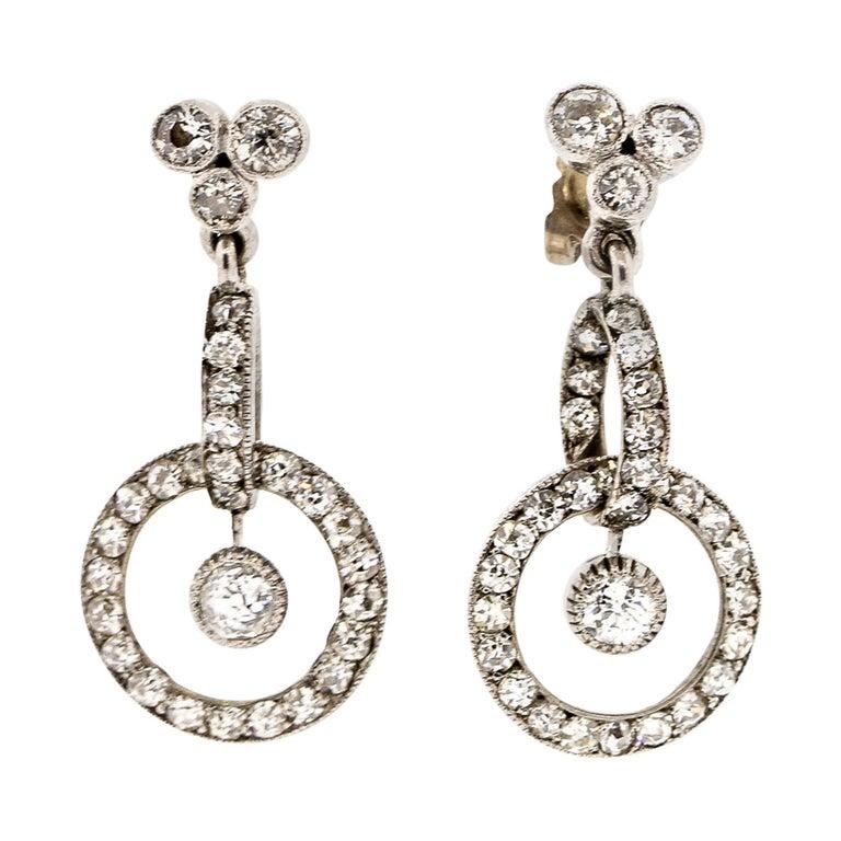 Antique Early 20th Century Platinum Diamond Pendant Earrings For Sale